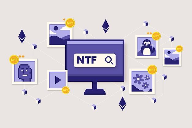 Плоский дизайн концепции nft