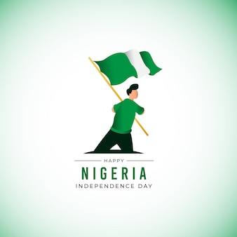 Плоский дизайн баннера день независимости нигерии