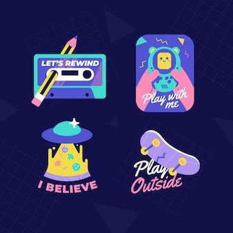 Flat design nostalgic 90's badges