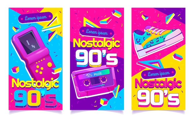 フラットなデザインのノスタルジックな90年代のバナー