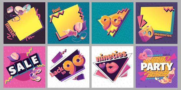 フラットなデザインのノスタルジックな90年代のinstagramの投稿