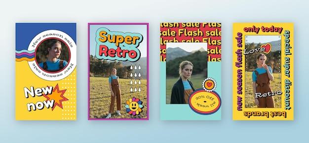 フラットなデザインのノスタルジックな90年代のインスタグラムストーリー