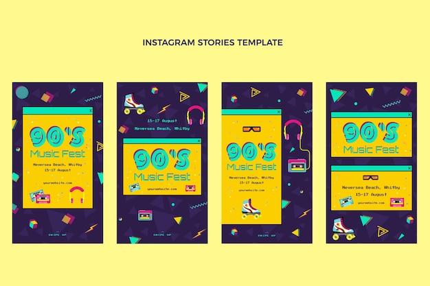 Flat design nostalgic music festival instagram stories