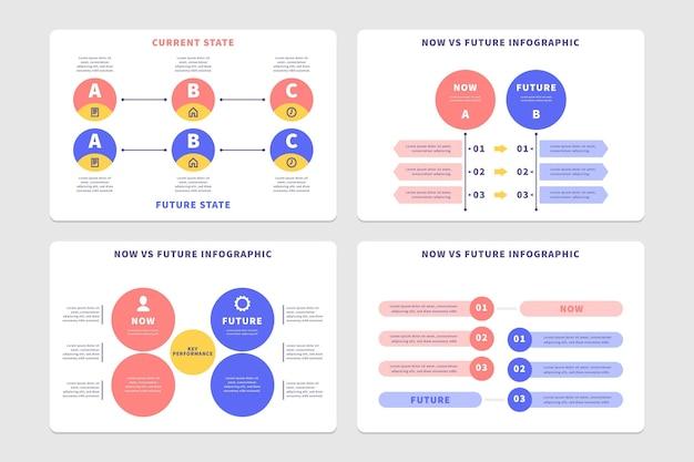 フラットデザイン今対将来のインフォグラフィックテンプレート