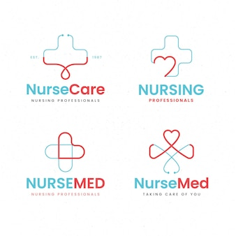 Коллекция логотипов медсестры в плоском дизайне