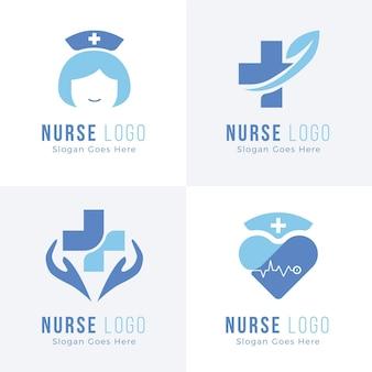 Collezione di modelli di logo infermiera design piatto
