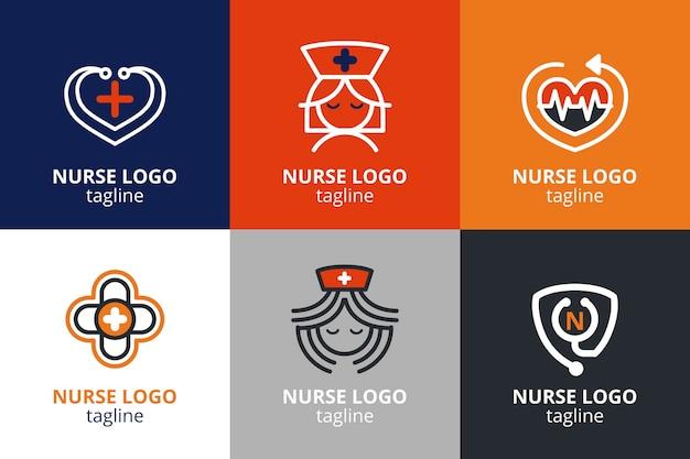 Коллекция шаблонов логотипа медсестры в плоском дизайне