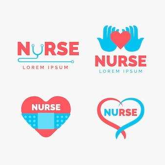 Flat design nurse logo templates