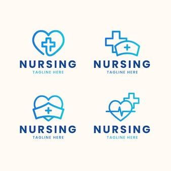 Плоский дизайн шаблонов логотипа медсестры