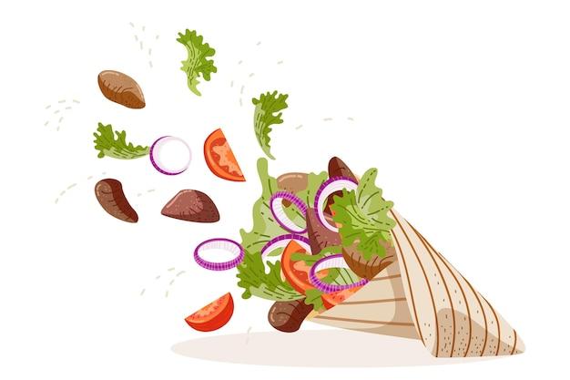 Плоский дизайн питательной иллюстрации шаурмы