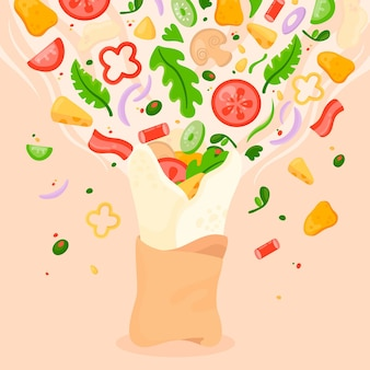 Flat design nutritious shawarma illustration