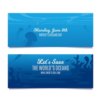 Flat design ocean day banner template