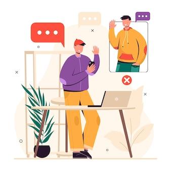 화상 통화를 사용하여 토론하는 남자의 평면 디자인