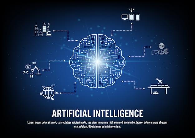 Плоский дизайн концепции искусственного интеллекта