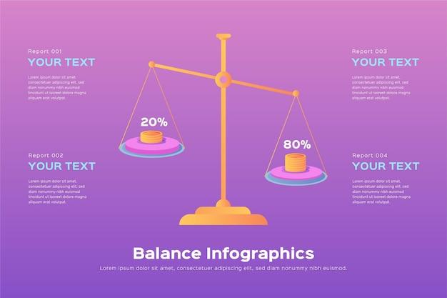 図解バランスインフォグラフィックのフラットなデザイン