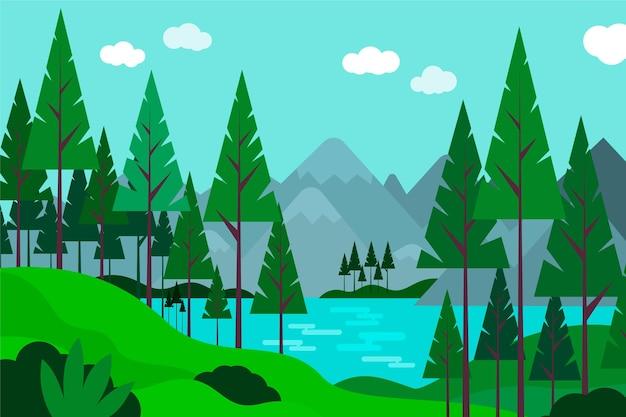 아름다운 풍경의 평면 디자인