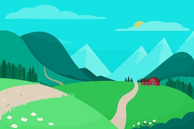 Плоский дизайн красивого пейзажа