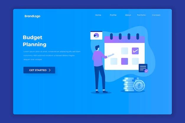 웹 사이트 방문 페이지에 대한 예산 계획 개념의 평면 디자인