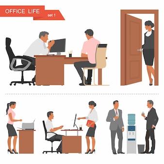 ビジネスマンやオフィスワーカーのフラットなデザイン。