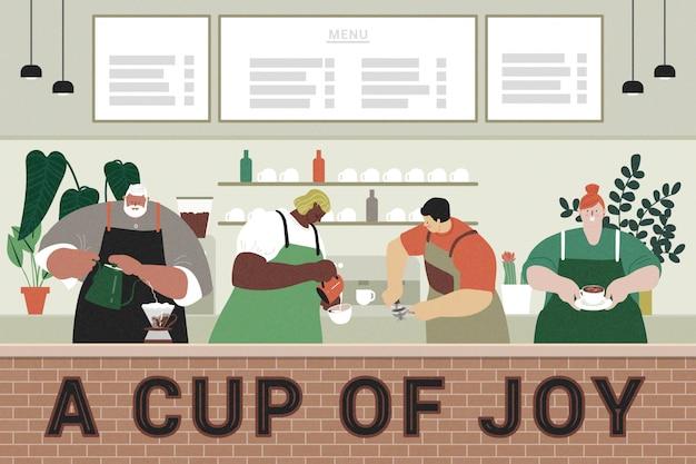 카페에서 일하는 바쁜 바리 스타의 평면 디자인