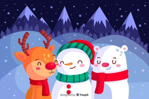 クリスマスの背景のフラットなデザイン