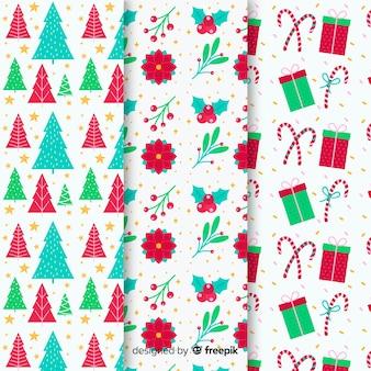クリスマスパターンコレクションのフラットなデザイン