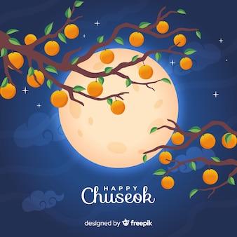 秋夕満月のフラットなデザイン