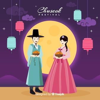 秋夕の伝統的な韓服のフラットなデザイン
