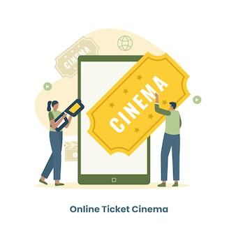 Плоский дизайн концепции онлайн билет в кино.