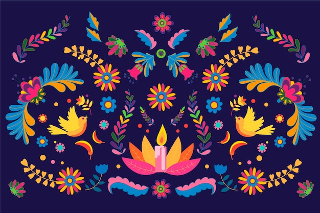 화려한 멕시코 배경의 평면 디자인