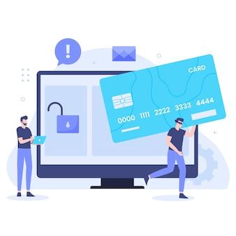 신용 카드 사기 개념의 평면 디자인입니다. 웹사이트, 방문 페이지, 모바일 애플리케이션, 포스터 및 배너용 일러스트레이션