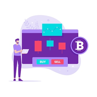 Плоский дизайн криптовалютной торговли. иллюстрация для веб-сайтов, целевых страниц, мобильных приложений, плакатов и баннеров.