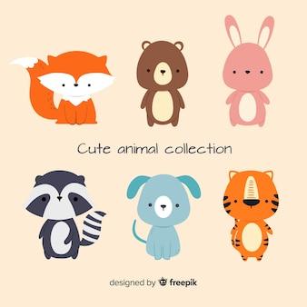 귀여운 동물 컬렉션의 평면 디자인