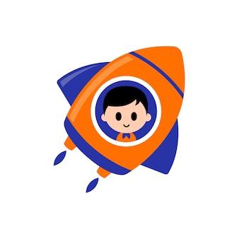 Плоский дизайн милого ребенка, катающегося на космической ракете