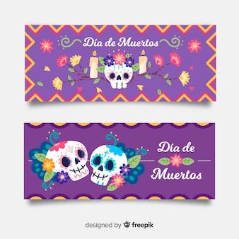 Плоский дизайн баннеров de muertos