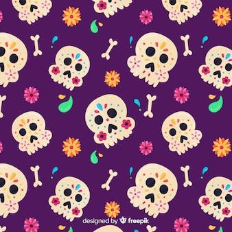 Dia de muertos 패턴의 평면 디자인 무료 벡터