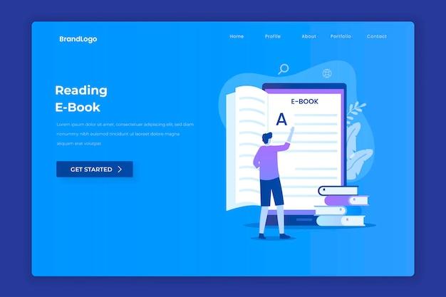 웹 사이트 방문 페이지를위한 전자 책 읽기의 평면 디자인