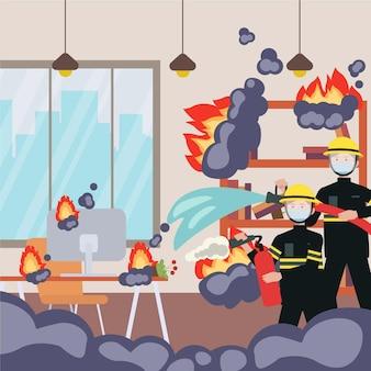 火を消す消防士のフラットなデザイン