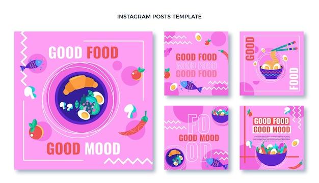 음식 ig 포스트의 평면 디자인