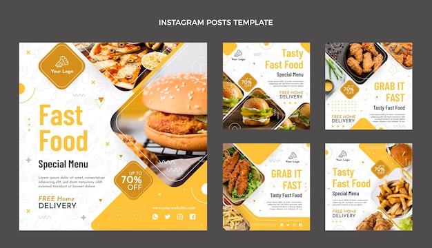 음식 인스타그램 포스트의 평면 디자인