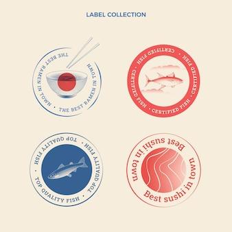 식품 라벨 및 배지의 평면 디자인
