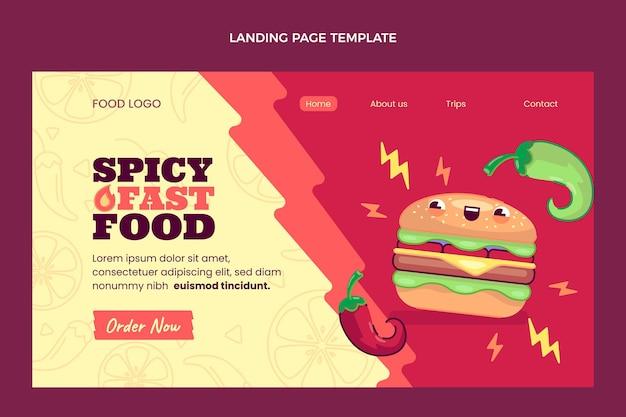 평면 디자인 음식 방문 페이지