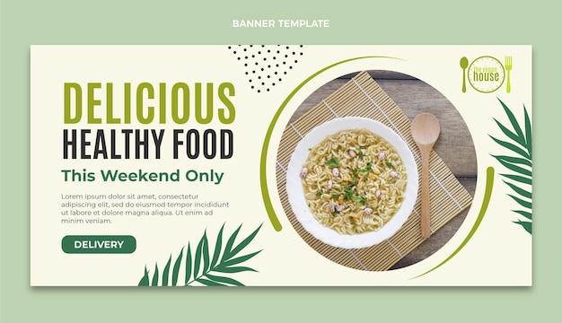 Плоский дизайн баннера продажи продуктов питания
