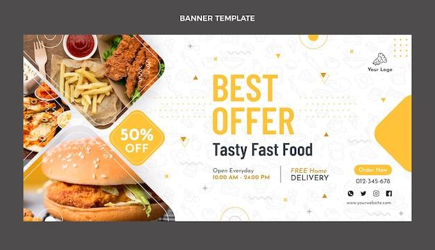 음식 판매 배너의 평면 디자인