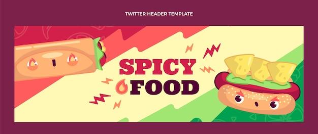 음식 트위터 헤더의 평면 디자인