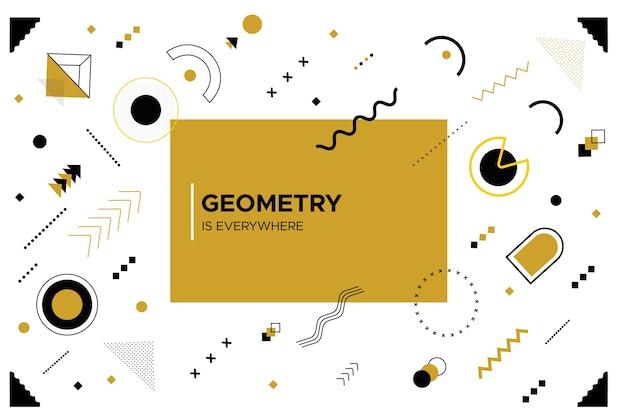 Плоский дизайн геометрических фигур и белый фон