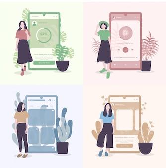 Плоский дизайн девушек с телефонным интерфейсом