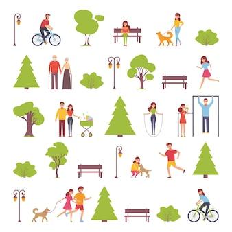 주말에 공원에서 야외 그룹 사람들의 평면 디자인.
