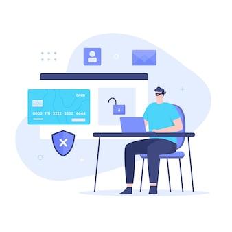 해커의 평면 디자인은 신용 카드를 훔칩니다. 웹사이트, 방문 페이지, 모바일 애플리케이션, 포스터 및 배너용 일러스트레이션