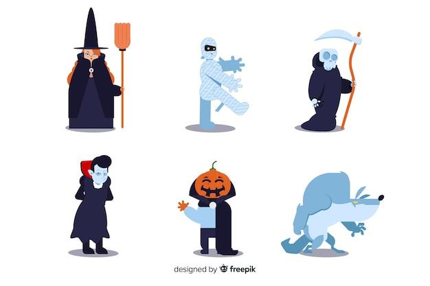 Плоский дизайн коллекции символов хэллоуина